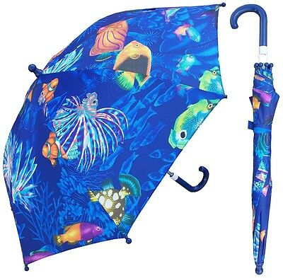 "32"" Children Ocean Fish Print Umbrella - RainStoppers Rain/Sun UV"