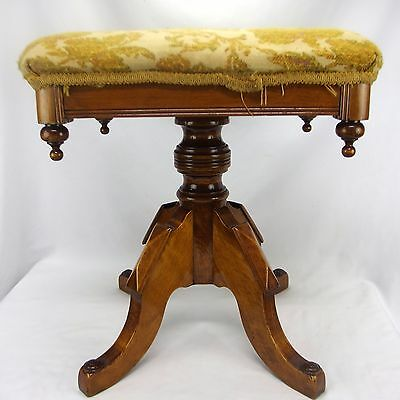 Antique Victorian Needlepoint Spinning Rotating Piano Bench Stool Yellow
