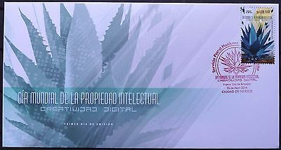 Mexico 2016 FDC World Day Intelectual Property Maguey Tequila Mezcal Cactus XF