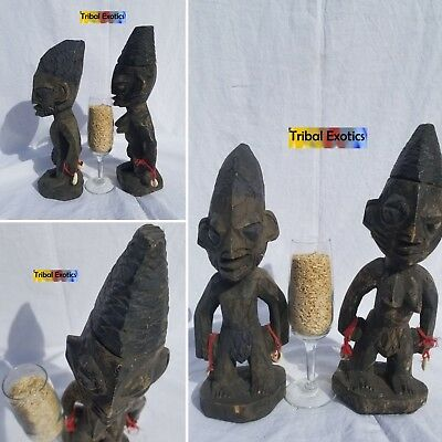 PREMIUM tribal African Art - Yoruba Ibeji Twins Figure Sculpture Statue Mask