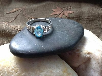 Haunted Wicca Blue Topaz Stone Ring ~Genuine Sterling Silver ~ Size 5
