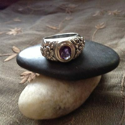 HAUNTED WICCA .VINTAGE AMETHYST  RING - Sterling Silver SIZE 8