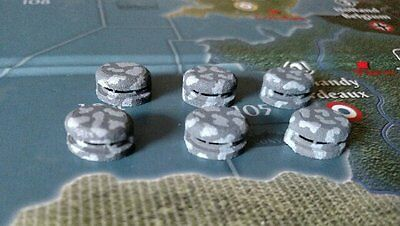 Axis & Allies Pieces/Parts (6) Custom Painted Round Bunkers