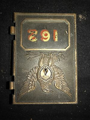 """#2A Antique American Eagle Brass Bronze Mail Box Door 1900s 5""""x3.5"""" Yale Lock"""