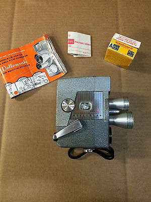 Vintage Wollensak model 43 8mm movie camera, with manual and film, Working.