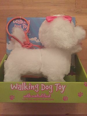 Walking Dog Toy with Control Lead White