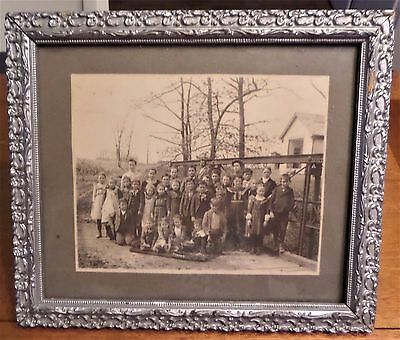 Antique Ornate Wooden Picture Frame and Original School Picture 1910's ?