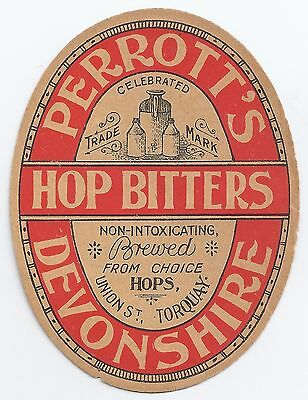 Perrott's Devonshire Hop Bitters label - brewed in Torquay