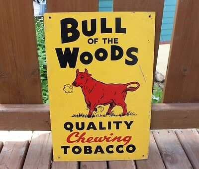 Vintage Advertising Tin Sign Bull of the Woods Chewing Tobacco Antique Original