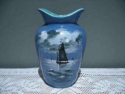 Antique Royal Doulton Hand Painted Saling Ships / Yachts In Moonlight Vase - Gc