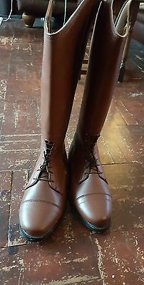 brown leather long riding boots sz 8(42)