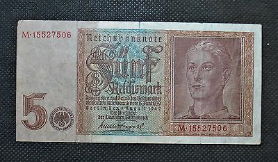 Old Bank Note Nazi Germany 5 Reichsmark 1942 World War Ii Swastika - M15527506