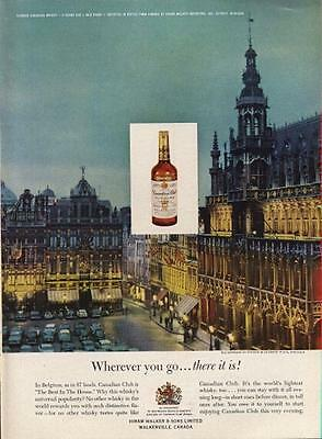 1962 Canadian Club Whiskey Hiram Walker PRINT AD La Grand Place, Brussels