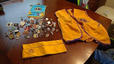 50 Lions Club Pins LOT, and Vest, Cap and Banner