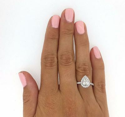 2.51 Ct Pear Shape Cut Si1 Diamond Solitaire Engagement Ring 18K White Gold