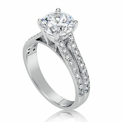 2.21 Ct Round Cut D/si1 Diamond Solitaire Engagement Ring 14K White Gold