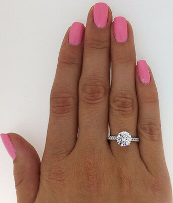 2.11 Ct Round Cut Vs1 Diamond Solitaire Engagement Ring 14K White Gold