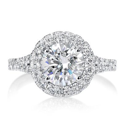 2.41 Ct Round Cut Si1 Diamond Solitaire Engagement Ring 14K White Gold