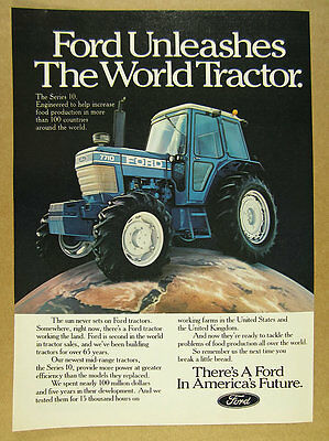 1982 Ford Series 10 Model 7710 Tractor color photo vintage print Ad