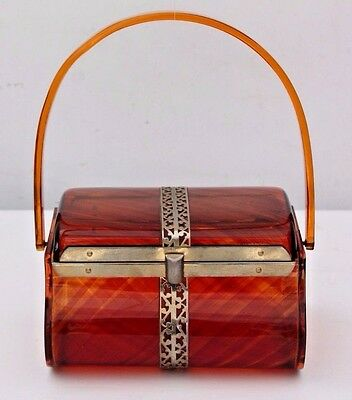 Vintage 1950s Lucite Box Purse Brown Evening Hand Bag Gold Metal Trim
