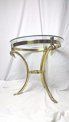 Exquisite Hollywood Regency Brass & Glass Table Crowning Swans LaBarge Italy