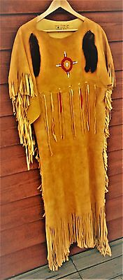 Vintage Native American Beaded Ceremonial Fringed Elk Hide Dress~Ranch Estate