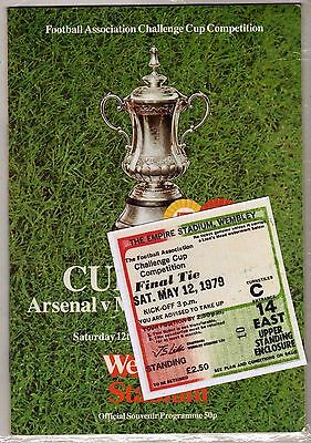1979 fa cup final Arsenal v Manchester United programme/ticket/*mint*