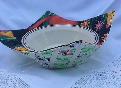 NWOT Bowl Cozy Microwave safe cotton CatZilla print container holder-hot/cold M