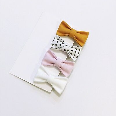 4x Mini Bow /Baby Girl Hair Clip  Toddler Fabric Hair Bow Mustard Bow