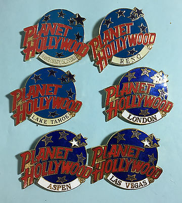 6 Different Planet Hollywood Pins -the OC,Reno,Tahoe, London,Aspen,& Las Vegas