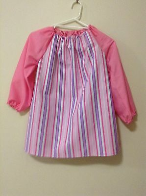 Girls stripes Handmade Art Smock  Girls 8-10 With Thermal Backing For Extra Prot