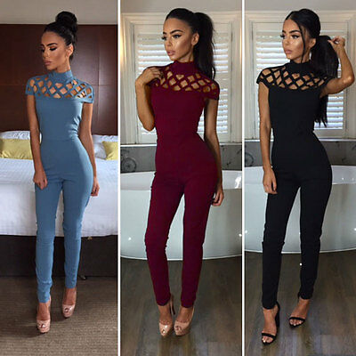 Fashion New Womens Choker High Neck Caged Sleeve Playsuit Ladies Jumpsuit