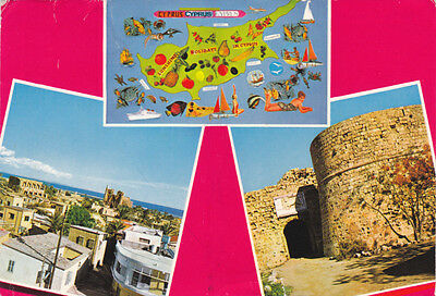 Postcard Cyprus Famagusta Views Old City Othello Tower Map Soteriou Used Fpo