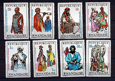 8 TIMBRES RWANDA  NEUF ** COSTUMES  serie complete Scott 343/50 88M637