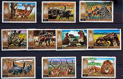 10 TIMBRES RWANDA  NEUF ** ANIMAUX SAUVAGES  serie complete Scott 444/53 88M638