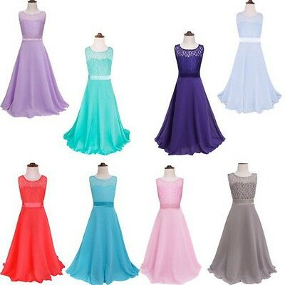 Toddler Baby Girls Pageant Wedding Bridesmaid Party Dresses Lace Princess Dress