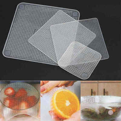 4PCS  Silicone Food Fresh Keeping Film Strech Seal Bowl Cover Preservative Film