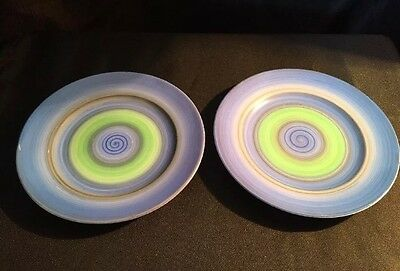Two Shelley Art Deco Hand Painted Pair Of Side Plates