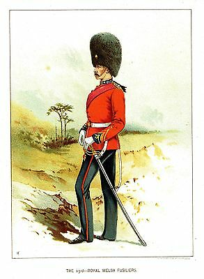 The 23rd - Royal Welsh Fusiliers - British Army-  Litho after Frank Feller -1889