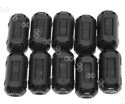 10Pcs Black Clip On Clamp RFI EMI Noise Filters Ferrite Core For 5mm Cable HD