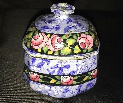 burleigh ware Blue And White And Hand Painted Pot Flowers