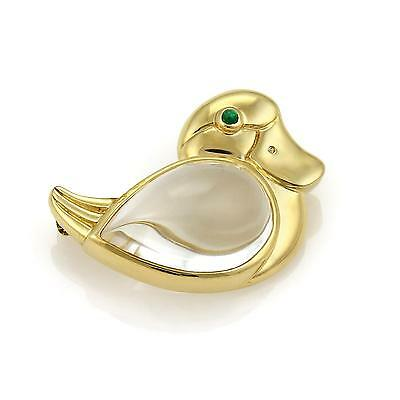 Tiffany & Co. Vintage Emerald & Rock Crystal 18k Yellow Gold Duck Brooch Pin