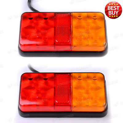 Pair 12V Rear Stop 10 LED Lights Tail Indicator Lamp Trailer Truck Van Lorry NEW