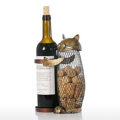 Tooarts holder Cork Container Art Iron Craft Gift Animal Ornament Cat Wine