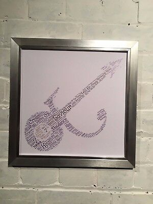 Prince Word Cloud containing songs and lyrics with choice of frame. Gift