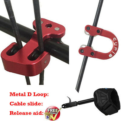 Metal D Loop+Release Aid+Cable Slide Compound Bow Hunting Archery Accessories AU