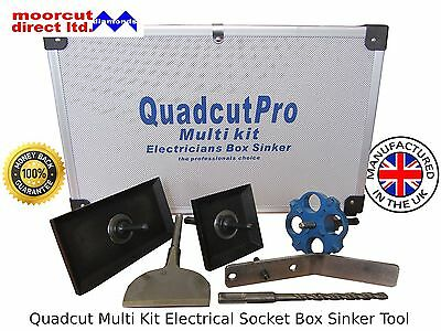 Quadcut PRO Range Multi Kit Electrical Box Sinker Set Square Hole Cutter Sds
