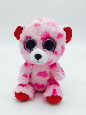 "6"" Cute Pink bear  TY Beanie Boos Plush Stuffed Toys Glitter Eyes"