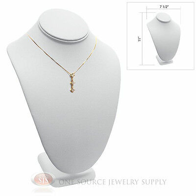 "11"" Pendant Necklace White Leather Neck Form Jewelry Presentation Display Stand"