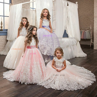 2017 Wedding Flower Girl Dress Communion Party Prom Princess Pageant Bridesmaid